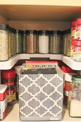 Organize your spices and marinades.